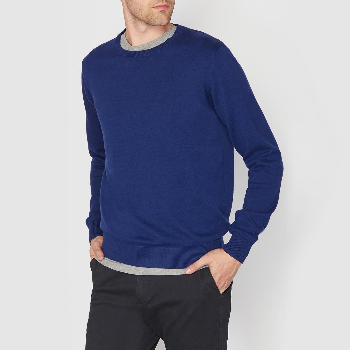 Пуловер с круглым вырезом 100% хлопкаПуловер с длинными рукавами. Прямой покрой, круглый вырез. Края низа и рукавов связаны в рубчик. Состав и описание :Материал : 100% хлопкаМарка : R essentiel.<br><br>Цвет: сине-зеленый меланж,ярко-синий<br>Размер: 3XL