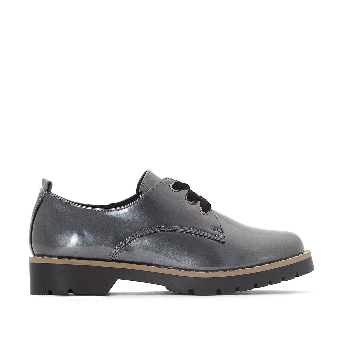 Ботинки-дерби металлизированные с велюровой шнуровкой 30-39Детали •  Ботинки-дерби •  Высота каблука : 1 см •  Застежка : шнуровка •  Круглый мысокСостав и уход •  Верх 100% синтетический материал •  Подкладка 100% текстиль •  Подошва 100% эластомер<br><br>Цвет: темно-серый<br>Размер: 39.38.36.35.33.32.31.30