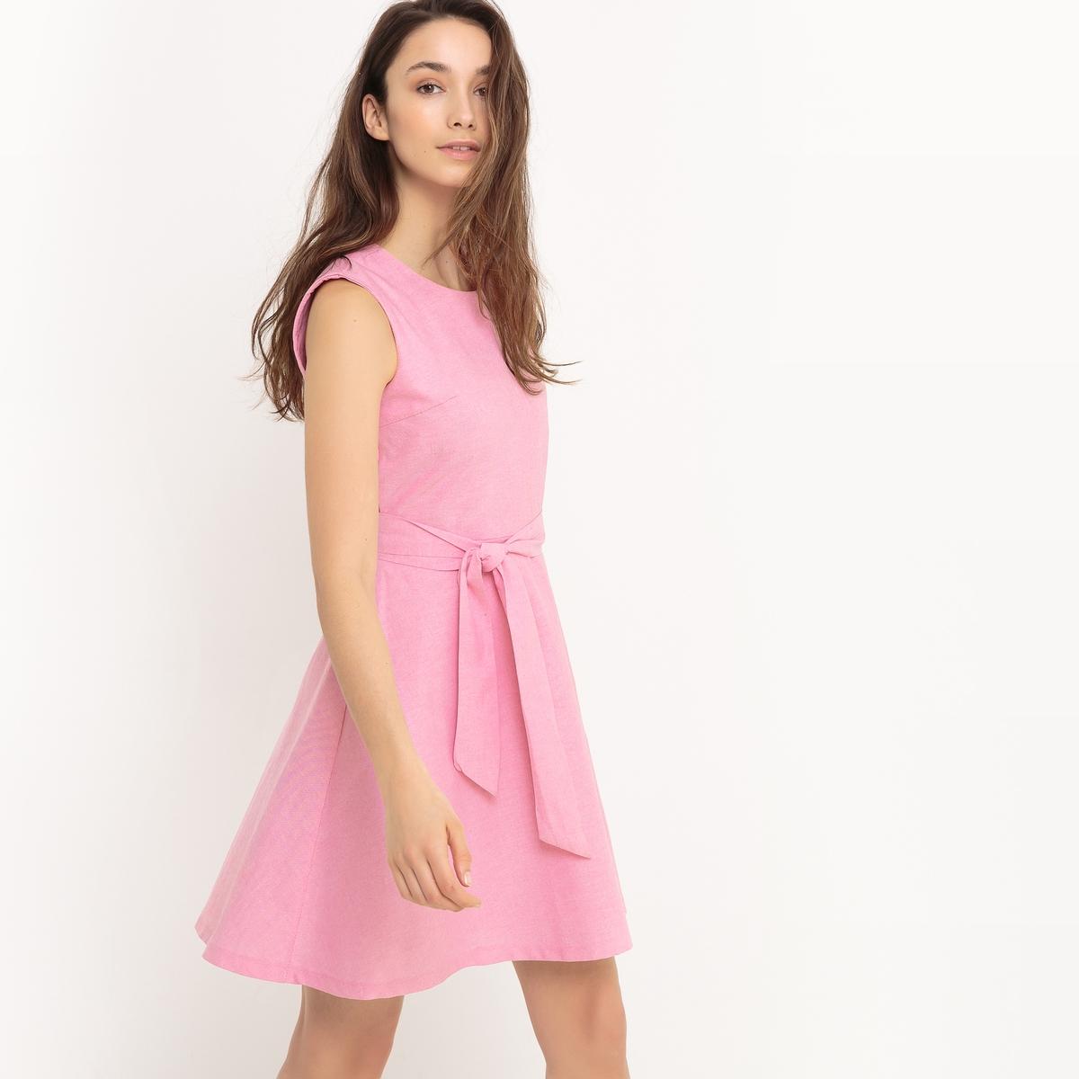 Платье расклешенное без рукавовДетали   •  Форма : расклешенная   •  короткое •  Без рукавов     •  Круглый вырезСостав и уход •  100% хлопок  •  Следуйте советам по уходу, указанным на этикетке<br><br>Цвет: розовый<br>Размер: S