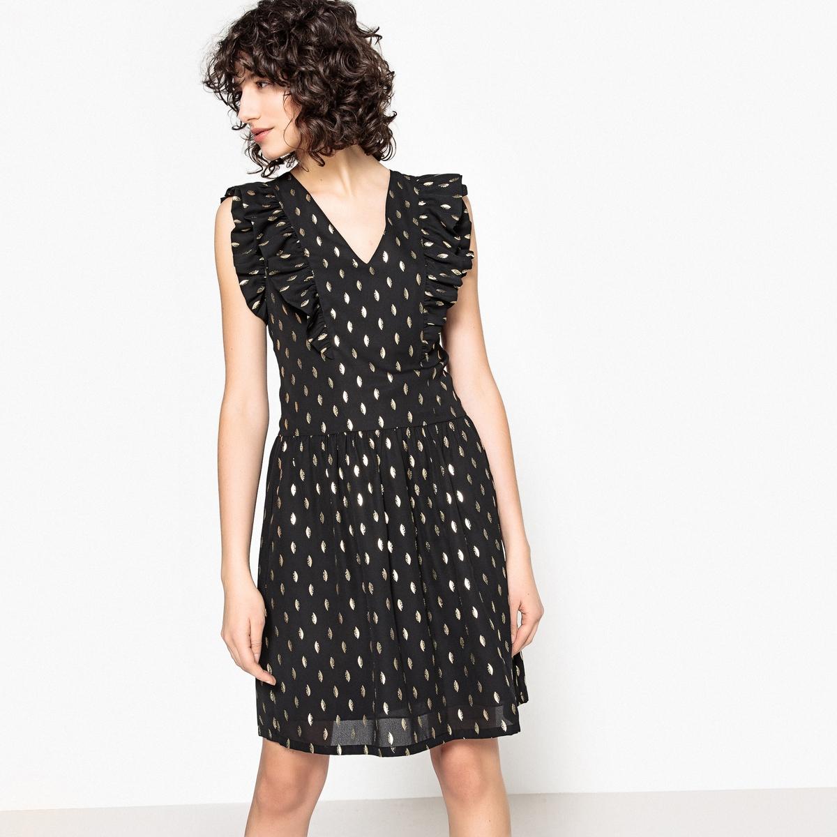 Sukienka rozkloszowana, w graficzny wzór, krótka