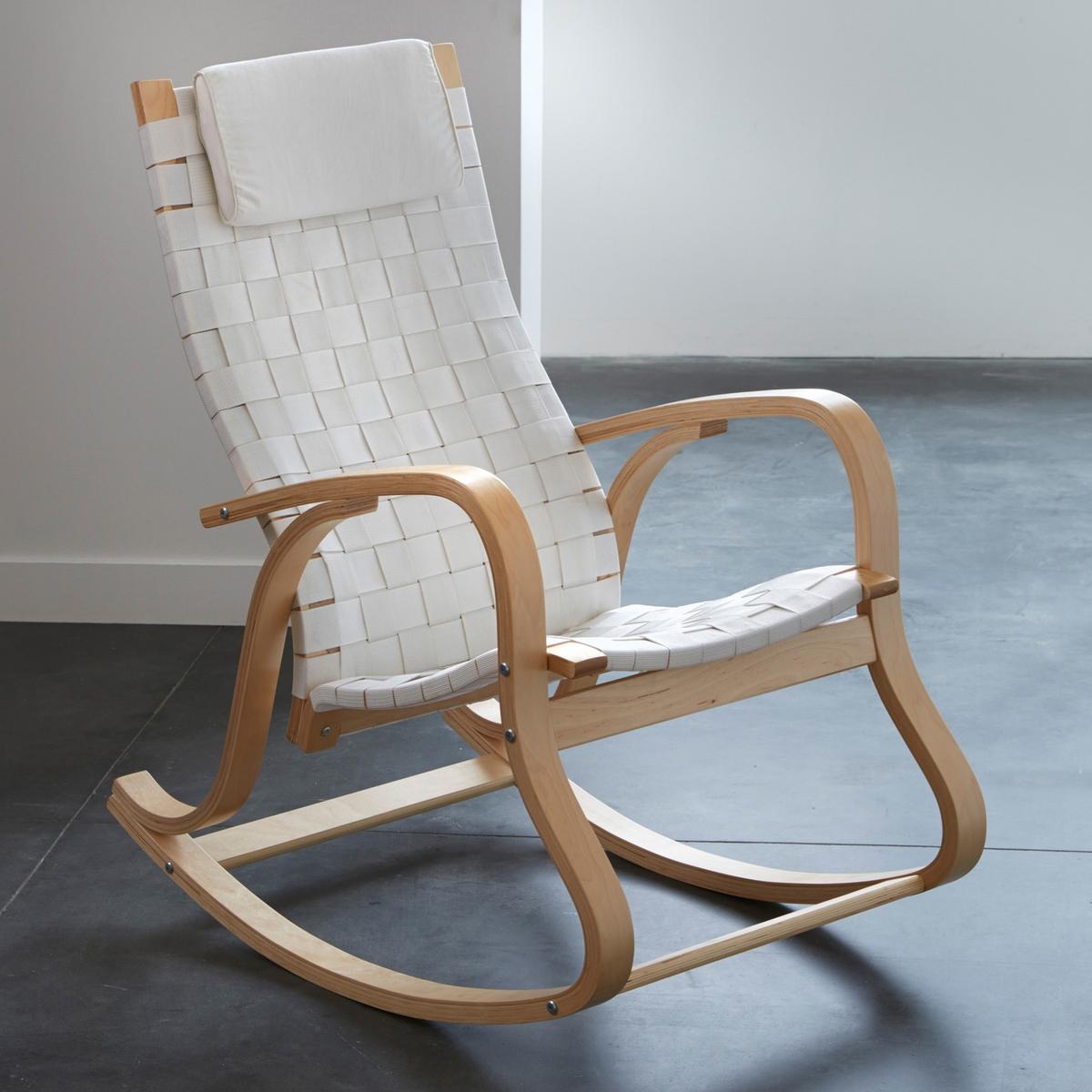 Кресло-качалка дизайнерское JimiКресло-качалка Jimi в современном стиле. Кресло-качалка Jimi сочетает дизайнерский подход и удобство, его пропорции идеально подходят для расслабления. Кресло займет достойное место в любом интерьере.Описание кресла-качалки Jimi :2 варианта расцветки : классический бежевый и модный черный.Характеристики кресла-качалки Jimi :Многослойная фанера из березы, отделка нитроцеллюлозным лаком.Покрытие сиденья и спинки из плетеных полиамидных волокон.Подушка подголовника из пенополиуретана со съемной тканевой обивкой из 100% хлопка.Другие стулья и дизайнерские кресла, а также всю коллекцию Jimi вы можете найти на сайте laredoute.ruРазмеры кресла-качалки Jimi :Общие :Ширина : 61 смВысота : 106 смГлубина : 96 см.Сиденье :В.48 см.Размеры и вес упаковки :1 упаковка93 x 64 x 20 см11,32 кг:.  ! ! .<br><br>Цвет: бежевый,белый