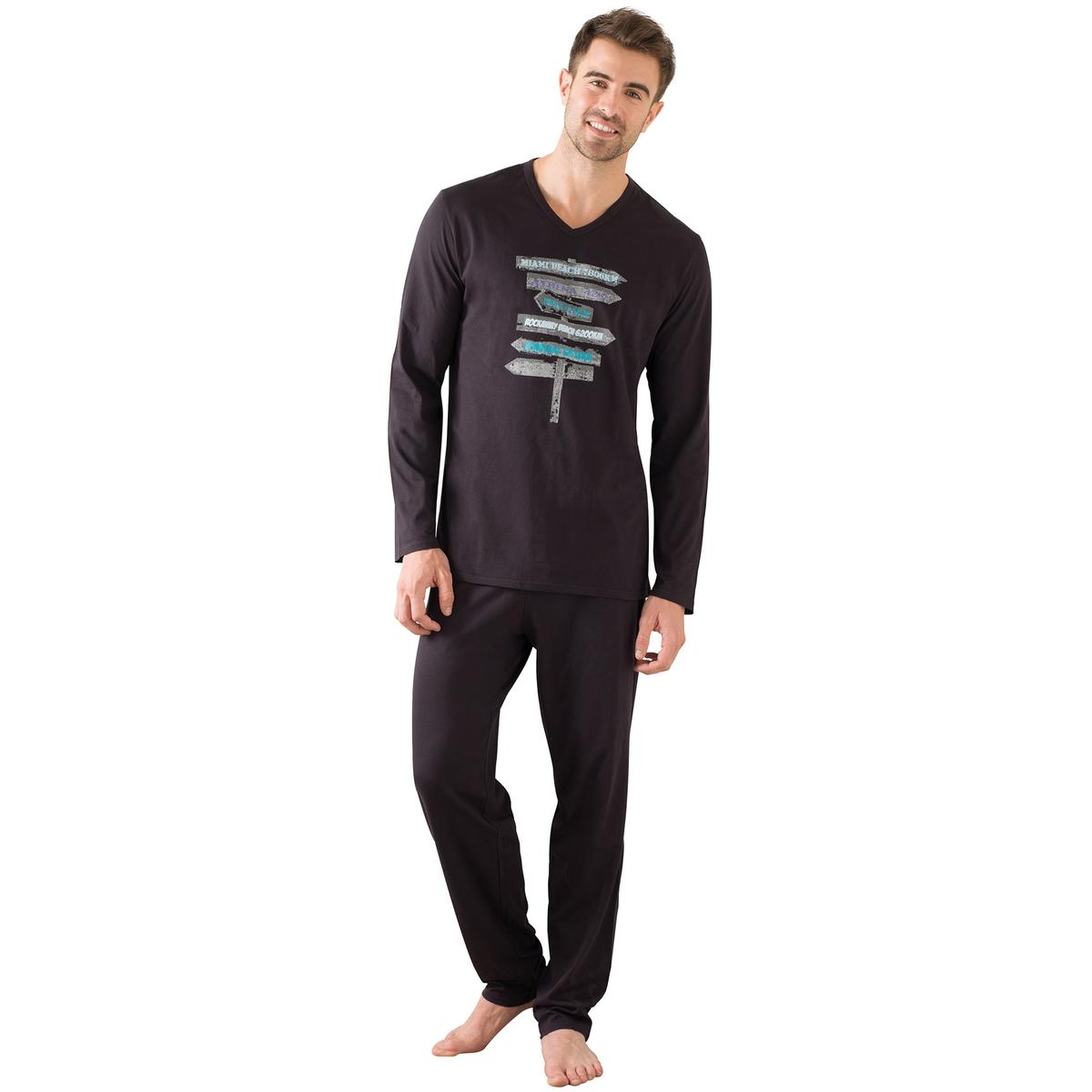 Пижама длинная с длинными рукавами, футболка с рисунком