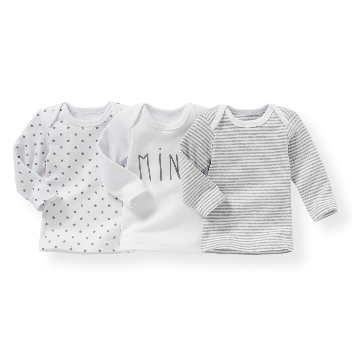 3 футболки хлопковых с рисунком, 0 мес.- 3 лет Oeko Tex от La Redoute