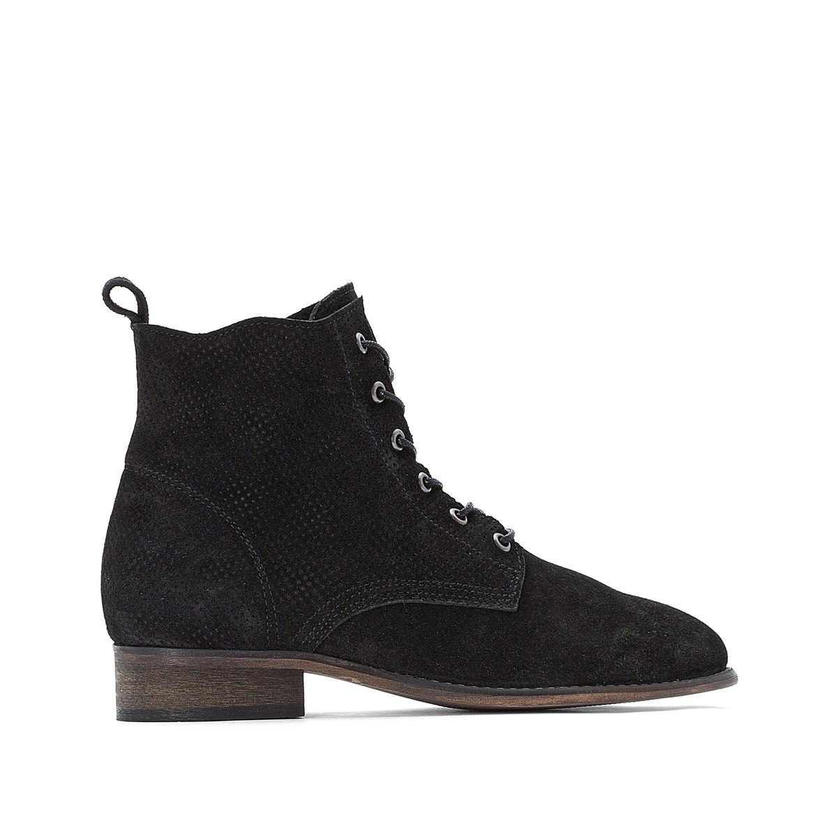 Ботильоны La Redoute Кожаные с перфорацией на шнуровке 36 черный рукавицы la redoute кожаные s черный