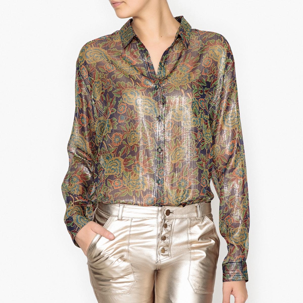 Рубашка полупрозрачная блестящая с рисунком CERISIERРубашка с рисунком MES DEMOISELLES - модель CERISIER из полупрозрачной ткани из тонкого блестящего шелка меланж .Детали •  Длинные рукава  •  Покрой бойфренд, свободный •  Воротник-поло, рубашечный  •  Рисунок-принтСостав и уход •  80% шелка, 20% металлизированных волокон •  Следуйте советам по уходу, указанным на этикетке<br><br>Цвет: набивной рисунок