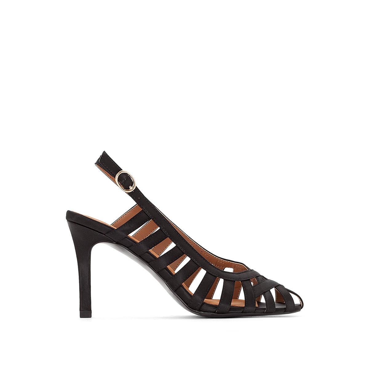 Туфли на каблукеДетали   •  Каблук-шпилька •  Высота каблука : 7,5 см •  Застежка : ремешок/пряжка •  Открытый мысок •  Гладкая отделкаСостав и уход   •  Верх 100% хлопок •  Подкладка 100% синтетический материал<br><br>Цвет: черный