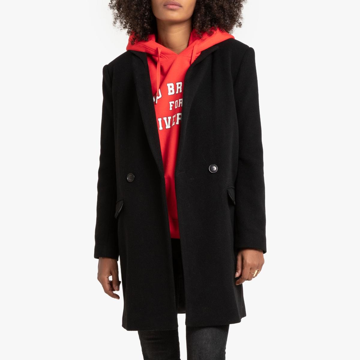 Пальто La Redoute Средней длины из шерстяного драпа 38 (FR) - 44 (RUS) черный