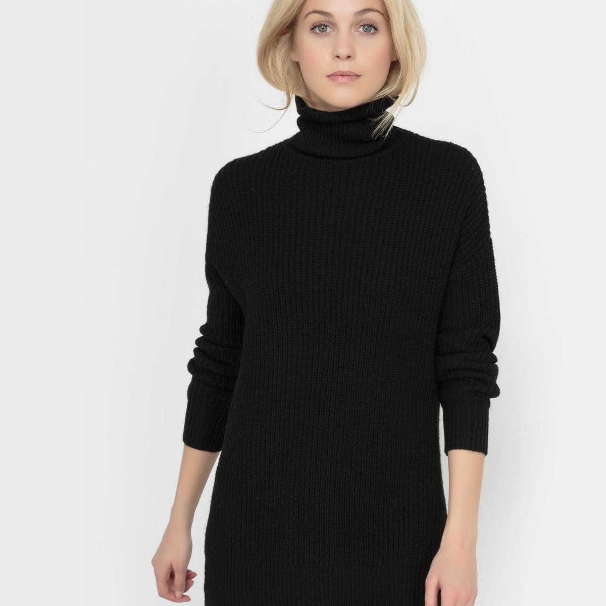 Пуловер длинный с воротником хомутом