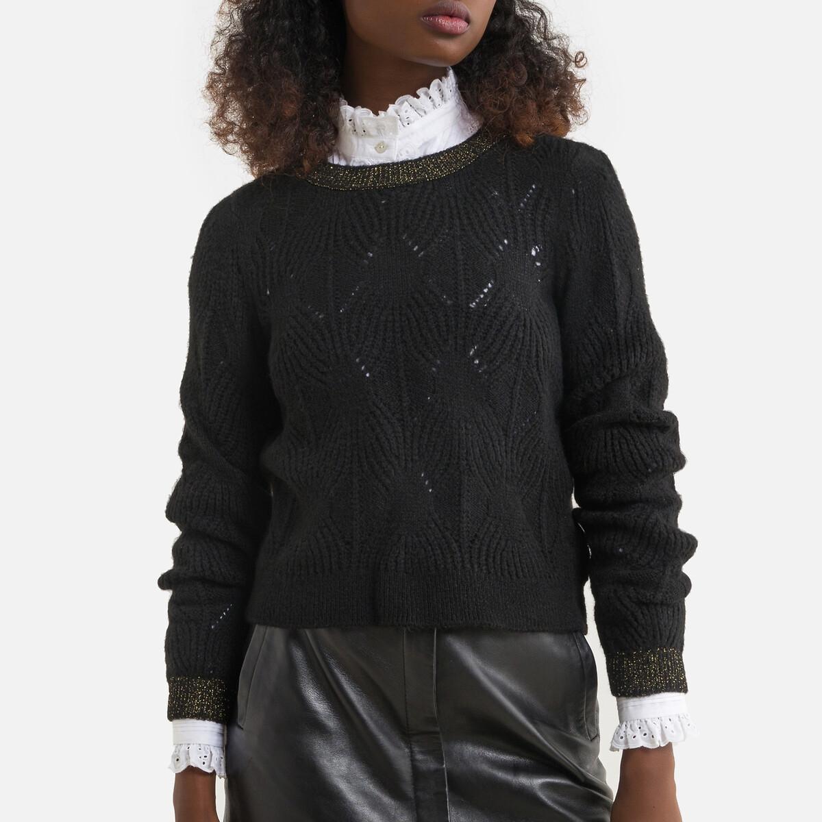Фото - Пуловер LaRedoute Из тонкого ажурного трикотажа XS черный пуловер laredoute с воротником стойкой из ажурного трикотажа пуантель m каштановый