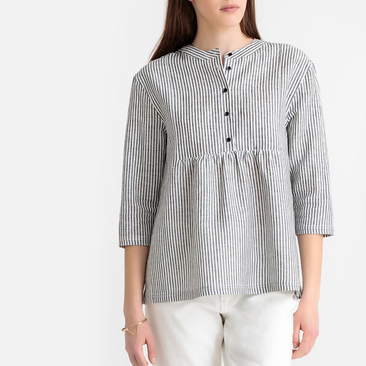 цена Блузка La Redoute Свободного покроя с воротником-стойкой и рукавами из льна и хлопка 34 (FR) - 40 (RUS) серый онлайн в 2017 году