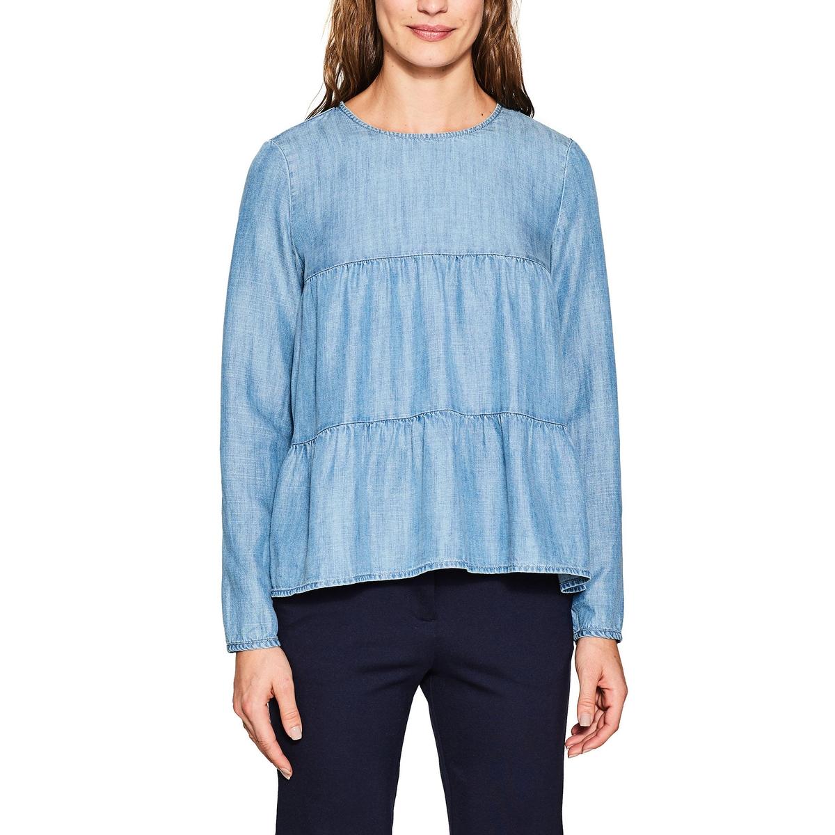 Blusa lisa con cuello redondo, manga larga