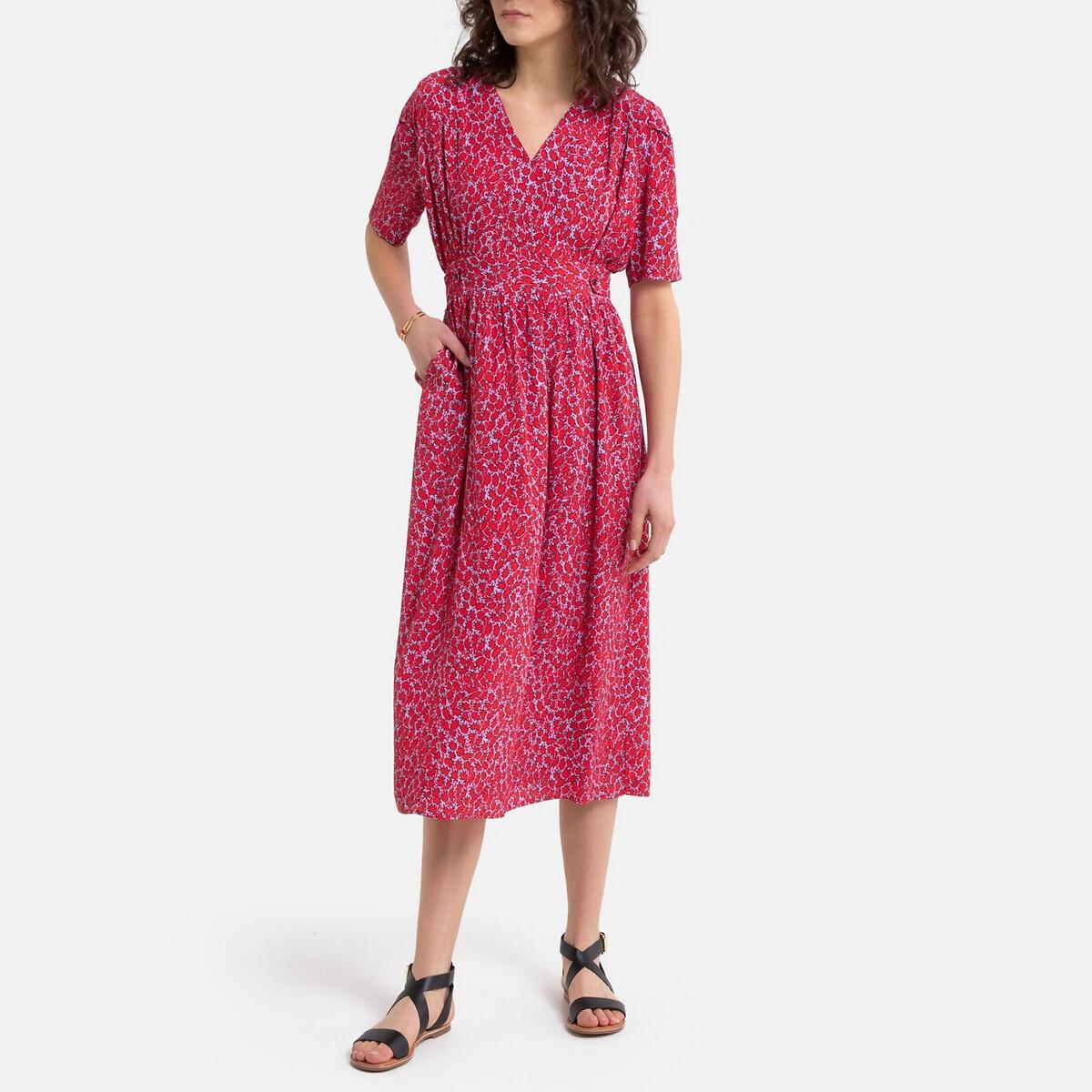 Платье La Redoute Длинное с запахом с принтом 1(S) красный