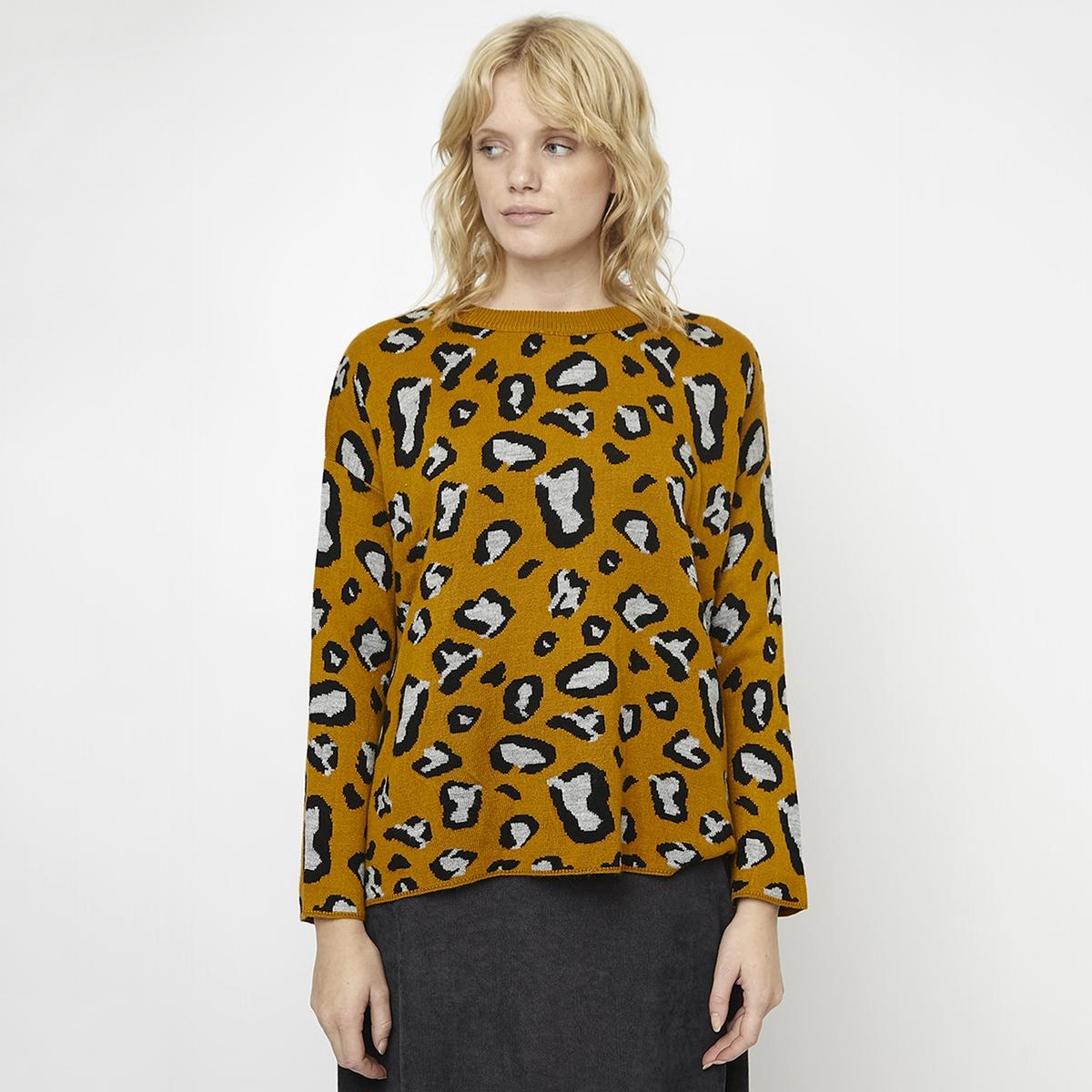 Пуловер La Redoute С леопардовым принтом расклешенный снизу L другие ботильоны челси la redoute с леопардовым принтом на заднике 43 черный