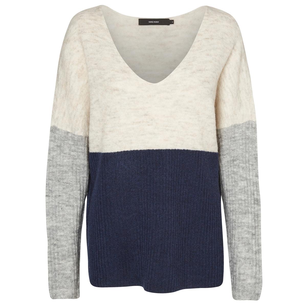 Пуловер из тонкого трикотажа с V-образным вырезом трикотаж other v ro moda