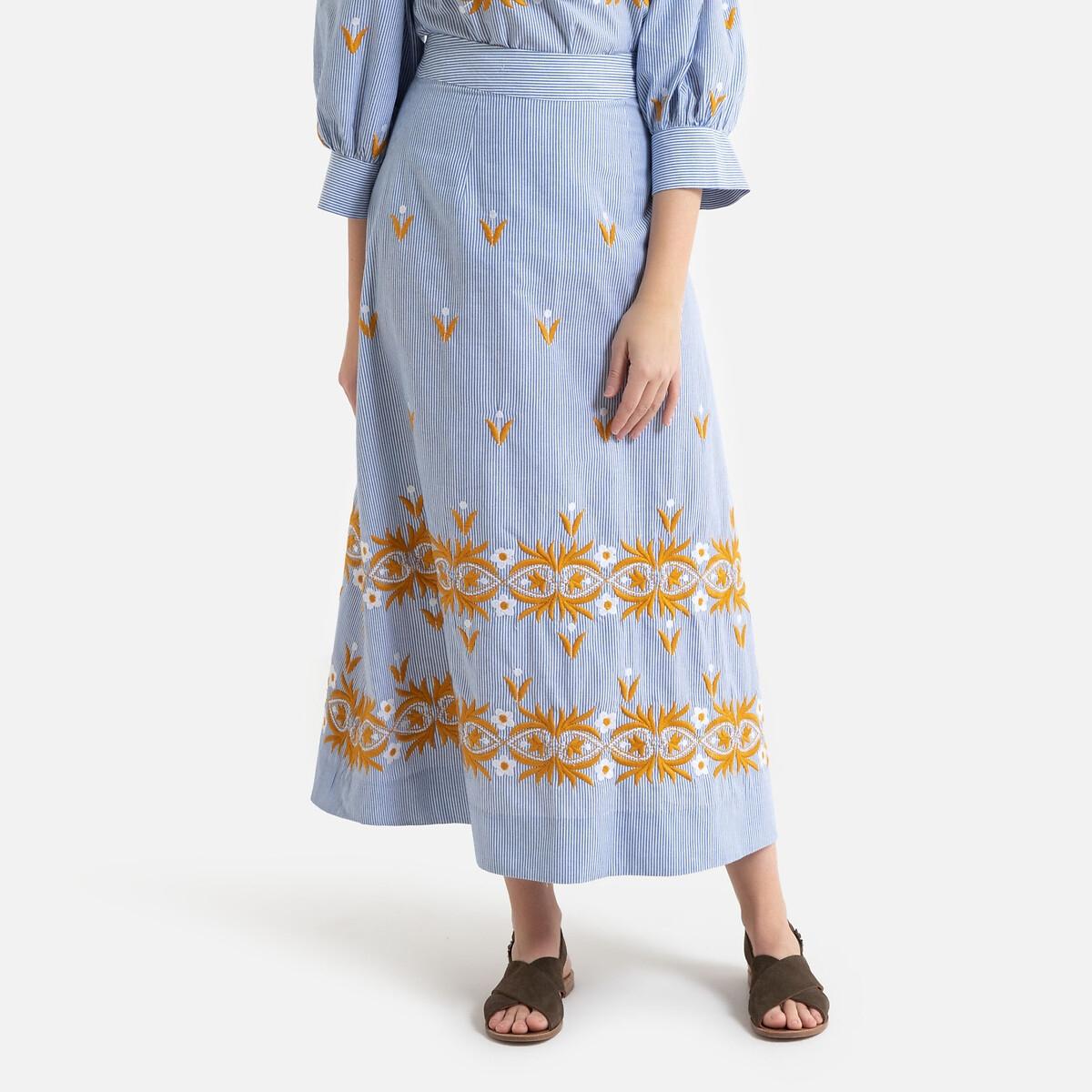 цена на Юбка-трапеция La Redoute хлопок в полоску с вышивкой MEXICA 36 (FR) - 42 (RUS) синий