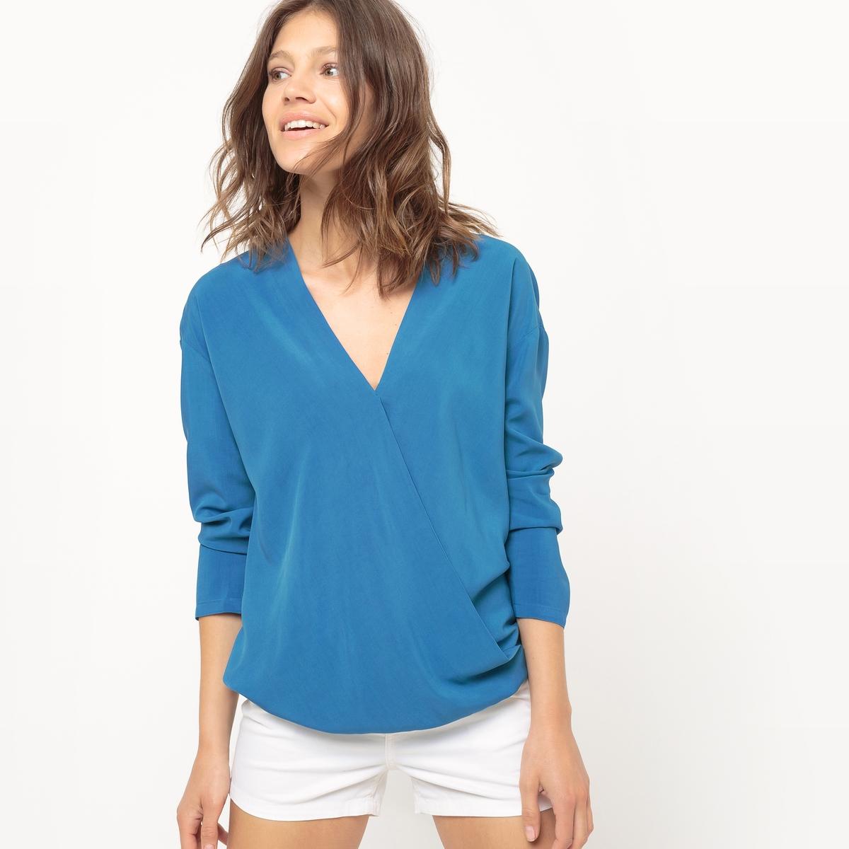 Блузка с перекрестной застежкой из вискозы