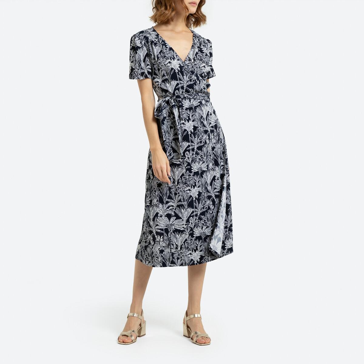 Платье La Redoute С запахом с короткими рукавами и рисунком 38 (FR) - 44 (RUS) синий