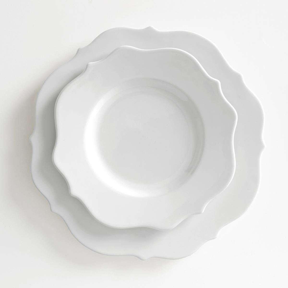 4 десертных тарелки из фаянса ManoirДесертные тарелки из фаянса Manoir, продающиеся в комплекте из 4 штук, будут отличным выбором для изысканного стола Описание 4 тарелок Manoir :Из фаянса.Подходят для микроволновой печи и посудомоечной машины  Размеры тарелок Manoir :?23 см.<br><br>Цвет: белый