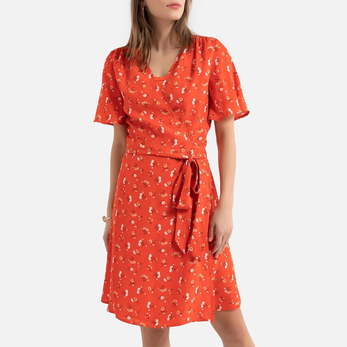 Платье La Redoute С запахом короткое с цветочным принтом 38 (FR) - 44 (RUS) красный