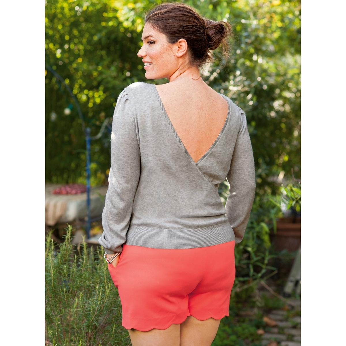 Пуловер с вырезом сзадиПуловер . Красивое декольте сзади . Закругленный вырез . Длинные, немного пышные рукава на резинке внизу  . Сборки на плечах . Трикотаж 60% вискозы, 40% хлопка . Длина 61 см.<br><br>Цвет: серый меланж<br>Размер: 54/56 (FR) - 60/62 (RUS)