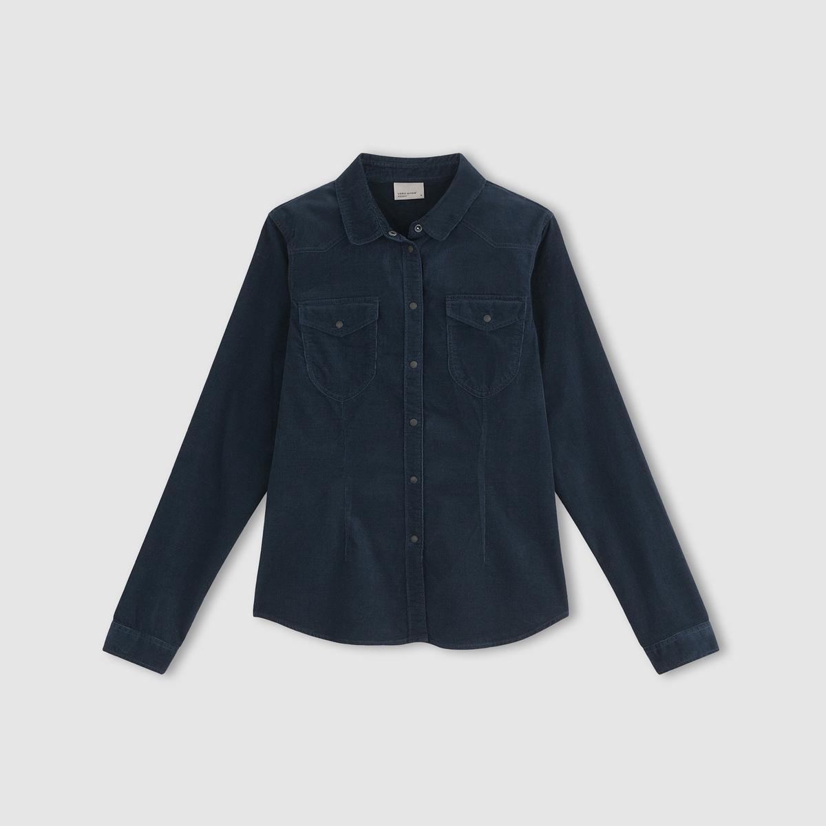 Рубашка джинсовая с длинными рукавами и карманами, VMKAYA рубашка джинсовая с длинными рукавами
