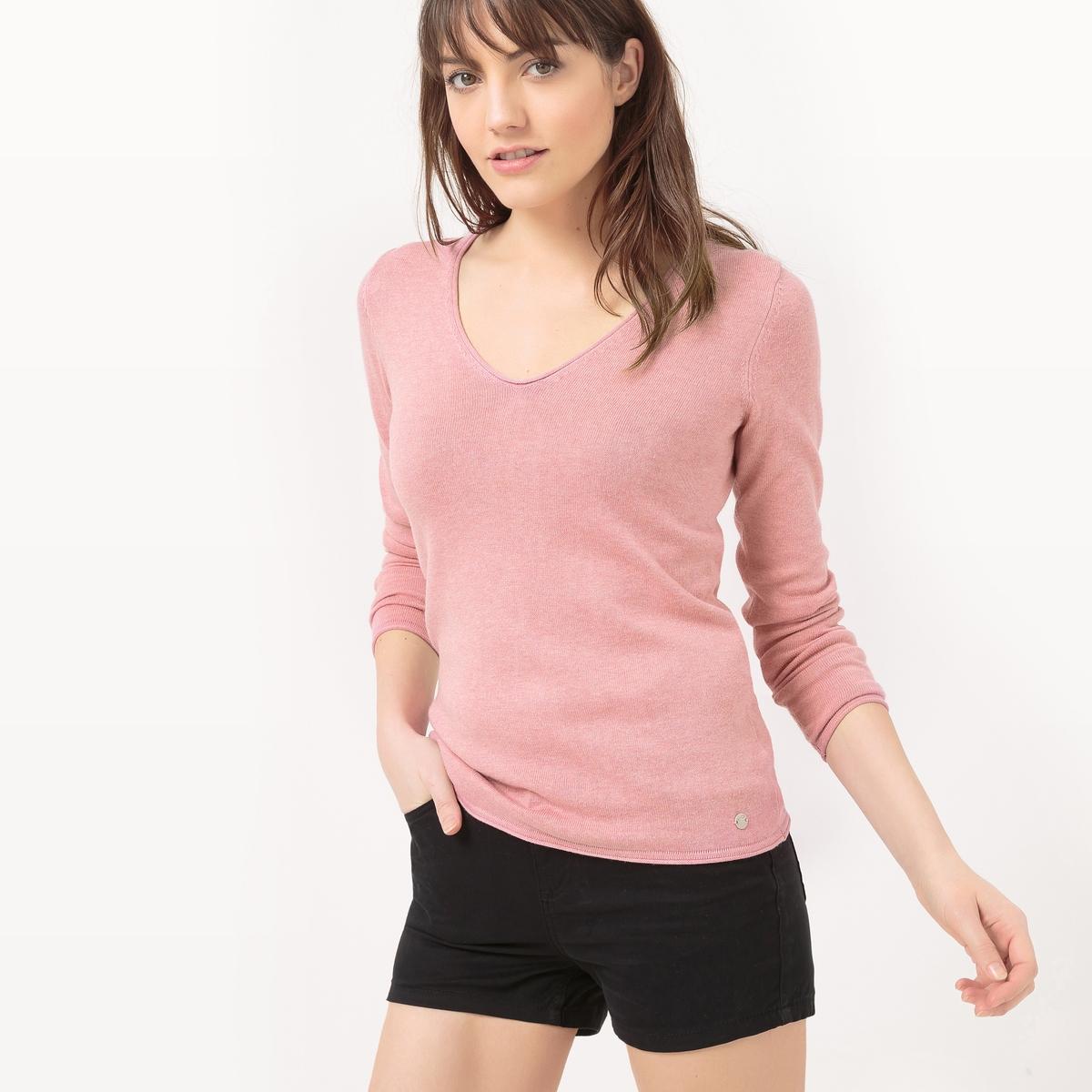 Пуловер с V-образным вырезомМатериал : 40% вискозы, 60% хлопка Длина рукава : длинные рукава Форма воротника : V-образный вырез Покрой пуловера : стандартный Рисунок : однотонная модель<br><br>Цвет: розовый<br>Размер: S