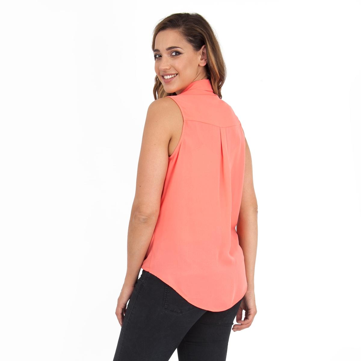 БлузкаБлузка без рукавов KOKO BY KOKO. Рубашечный воротник. Эффект драпировки. 100% полиэстер<br><br>Цвет: коралловый<br>Размер: 58/60 (FR) - 64/66 (RUS)