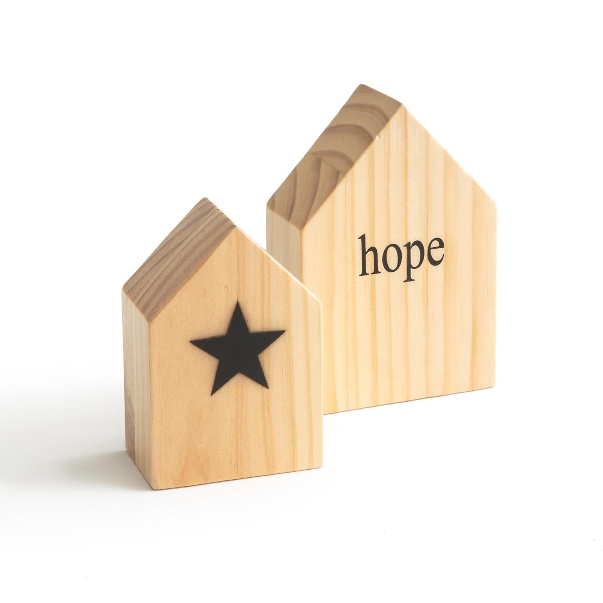 2 домика из дерева CHAYMAДомики из дерева  Chayma (комплект из 2 штук) .Симпатичные домики из дерева в скандинавском стиле .Разместите их на полке или консоли .Предмет декора, который можно подарить кому-то или самому себе .Характеристики домиков Chayma :- Из массива сосны, с украшением   .- Продаются по 2 штуки :1 Домик из дерева с надписью hope+ 1 домик из дерева с рисунком  звезда .Размеры домиков Chayma : : - Домик с надписью hope  : 10,5 x 5 x 15 см - Домик  с рисунком  звезда : 8 x 5 x 12 см .Найдите всю коллекцию предметов декора на сайте laredoute.ru<br><br>Цвет: серо-бежевый<br>Размер: единый размер