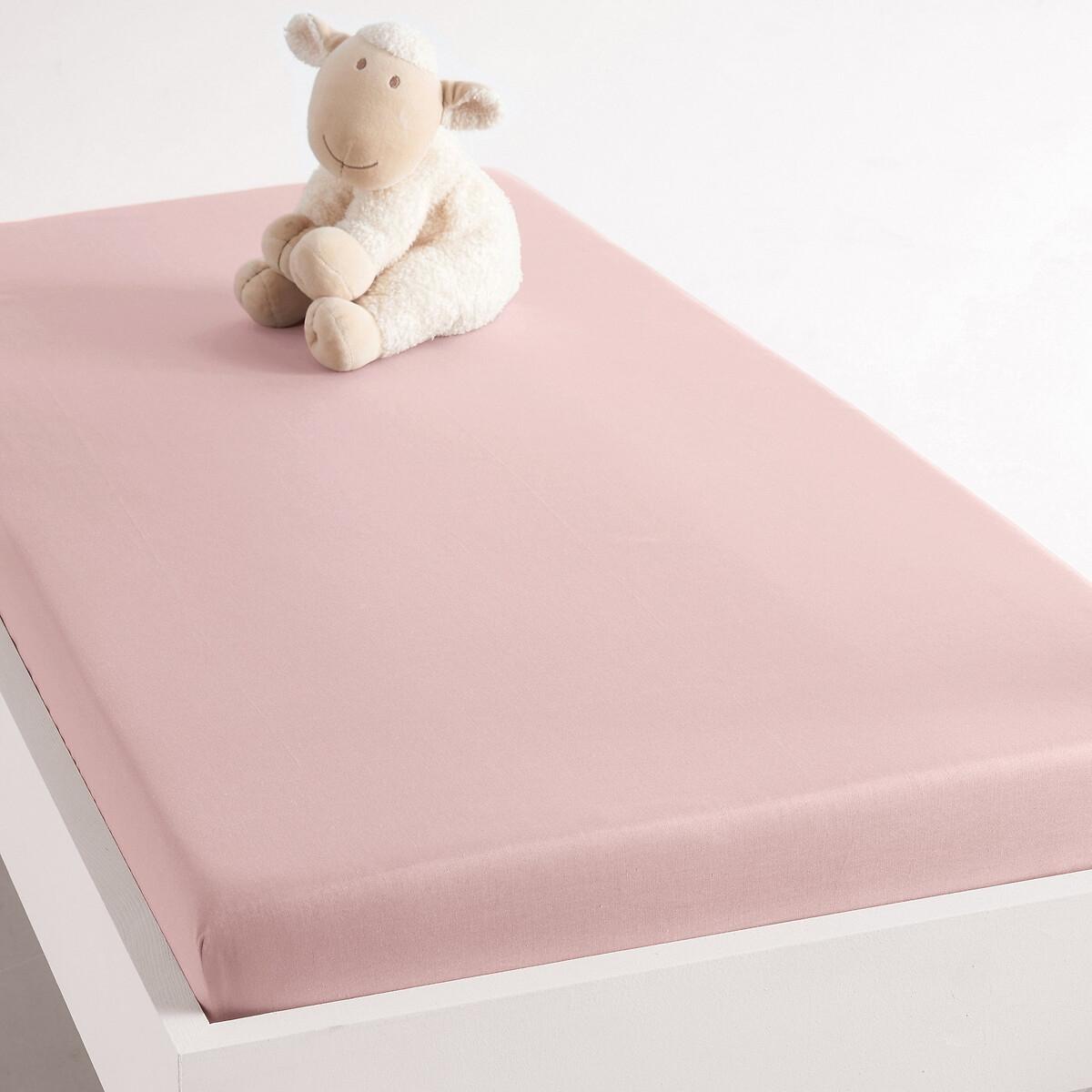 цена Натяжная простыня La Redoute Из хлопка для детской кровати 60 x 120 см розовый онлайн в 2017 году