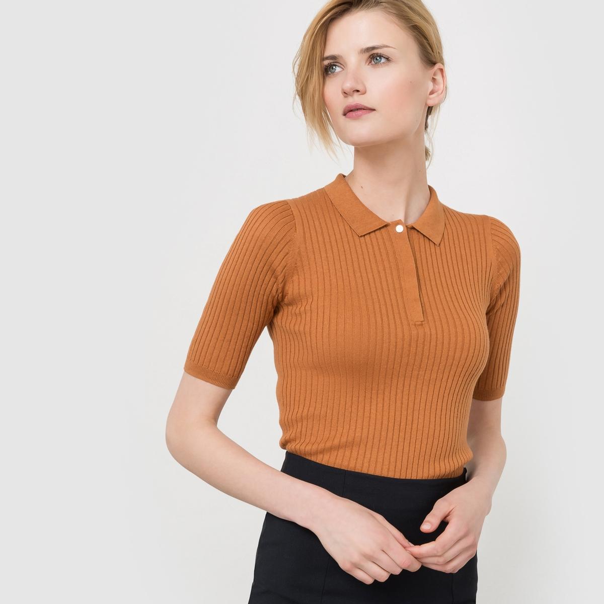 Пуловер с воротником поло из хлопка/шерсти