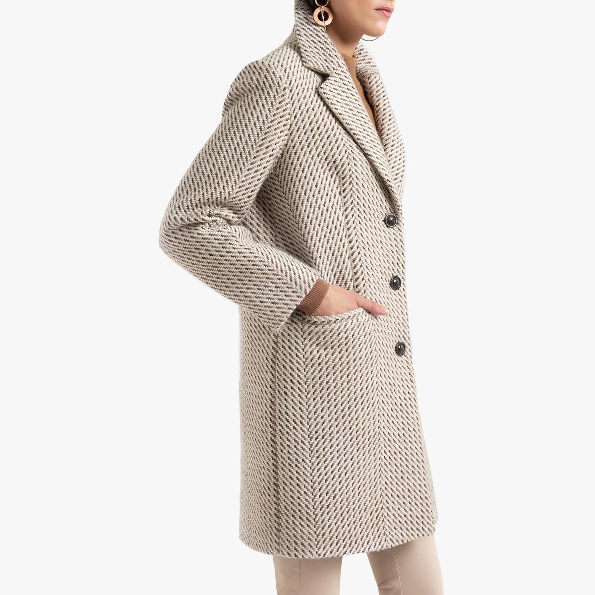 Пальто La Redoute С зигзагообразным рисунком и застежкой на пуговицы 54 (FR) - 60 (RUS) бежевый цена и фото