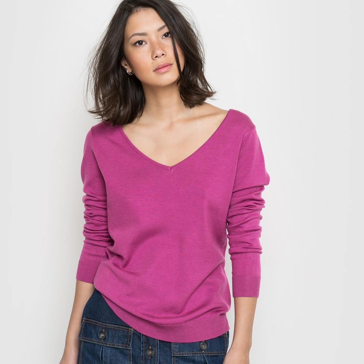 Пуловер с длинными рукавами и декольте сзадиСостав и описание :Материал : 86% акрила, 14% полиамидаПодкладка : -   Длина : 62 смМарка : R EDITION.Уход :Машинная стирка при 30 °С<br><br>Цвет: ярко-розовый