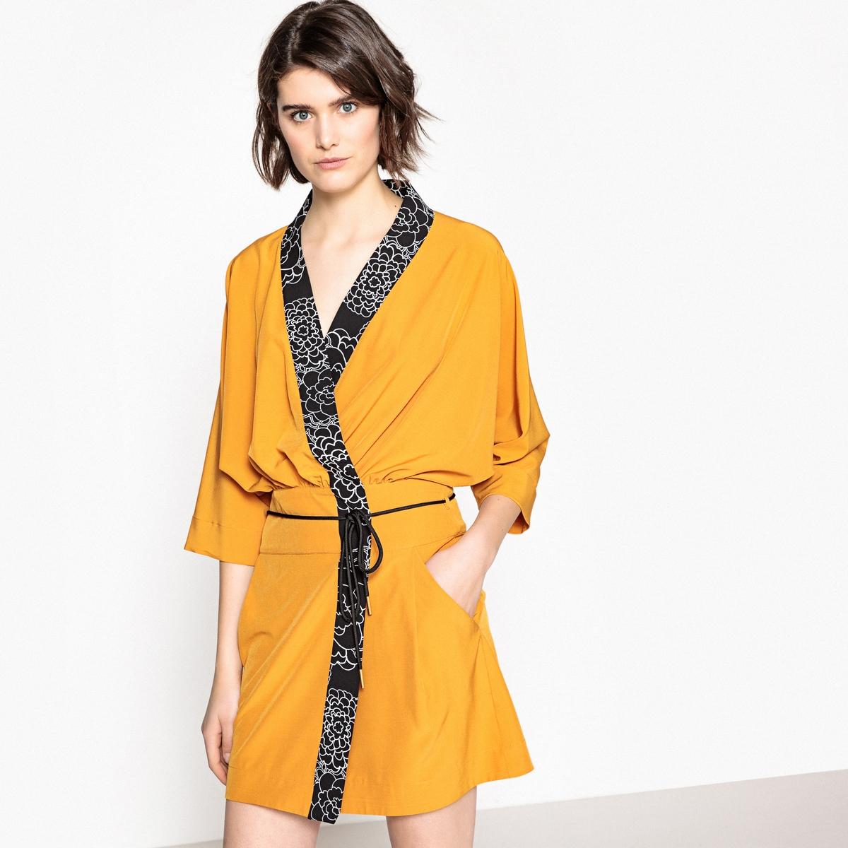 Платье La Redoute С запахом однотонное рукава кимоно 34 (FR) - 40 (RUS) желтый цена и фото