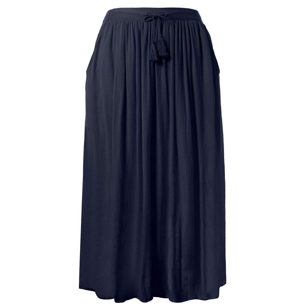 Юбка-максиЮбка-макси ULLA POPKEN из крепона. Свободный покрой, полностью эластичный пояс, 2 кармана, непрозрачная подкладка.100% полиэстер. 100% хлопок. Длина . 85 см<br><br>Цвет: темно-синий