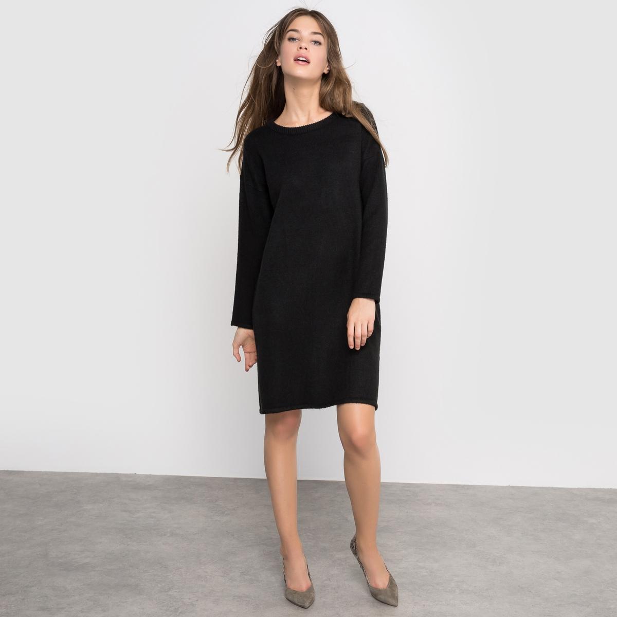 Платье-пуловер с разрезамиСостав и описание :Длина : 90 смМатериал : 70% акрила, 30% полиэстераМарка :      R ?ditionУходМашинная стирка при 30 °С с вещами схожих цветов Не гладить<br><br>Цвет: черный
