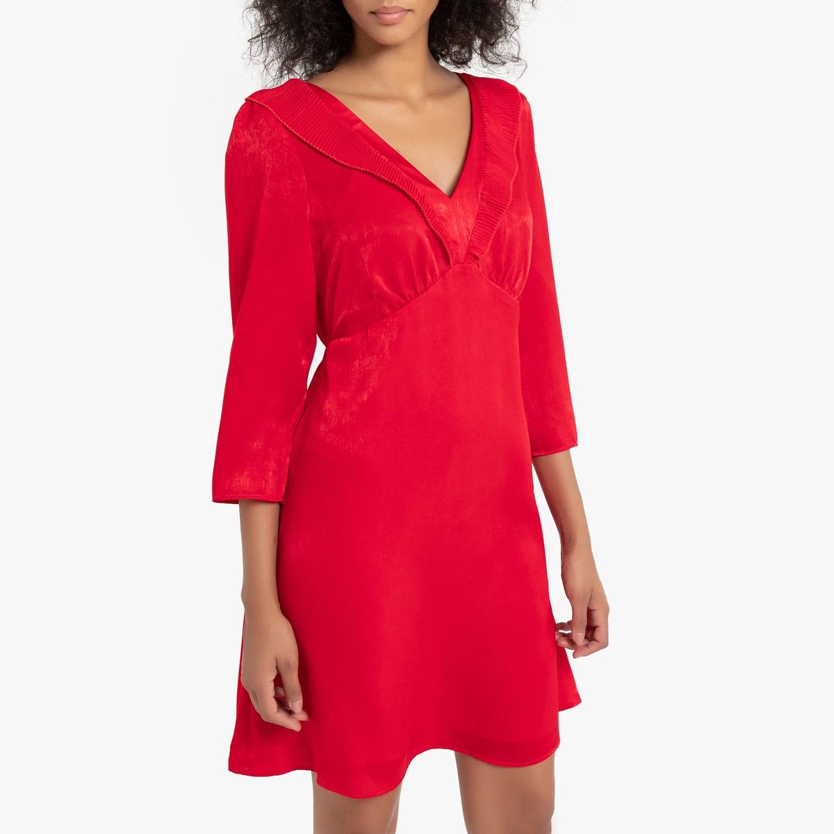 Платье La Redoute Расклешенное атласное с длинными рукавами и деталями на вырезе 36 (FR) - 42 (RUS) красный блузка la redoute в клетку с украшениями на вырезе 36 fr 42 rus синий