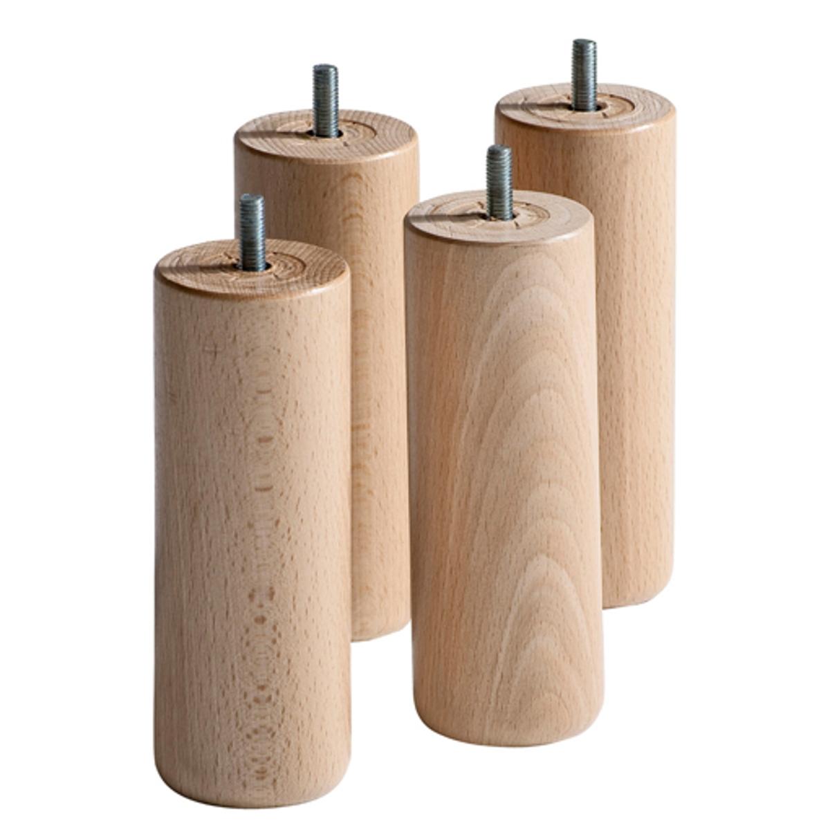 4 ножки для кроватного основания4 ножки, адаптируемые для любого типа кроватного основания (вкручивающиеся или вставляемые в паз)   .     Характеристики : - Ножки кроватного основания из массива бука с покрытием целлюлозным лаком . - В комплекте 4 ножки . Размер :- ?6 x В 20 см .<br><br>Цвет: белый,серо-бежевый<br>Размер: комплект из 4