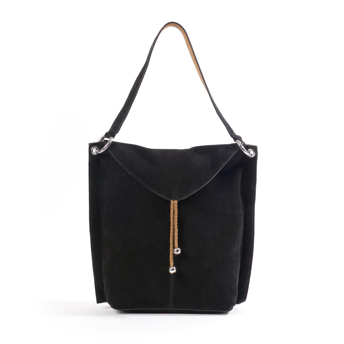 Сумка через плечо из кожиОписание:Отличная сумка через плечо из спилка с кожаными завязками: изящный богемный стиль, великолепно смотрится с джинсами или длинной юбкой. Состав и описание :  Материал : верх из невыделанной кожи              подкладка из хлопка Размеры : 36 x 33 x 13 смЗастежка : кнопка на магните1 карман на молнии и 2 кармана для мобильного телефона.1 карман на молнии сзади.<br><br>Цвет: черный<br>Размер: единый размер