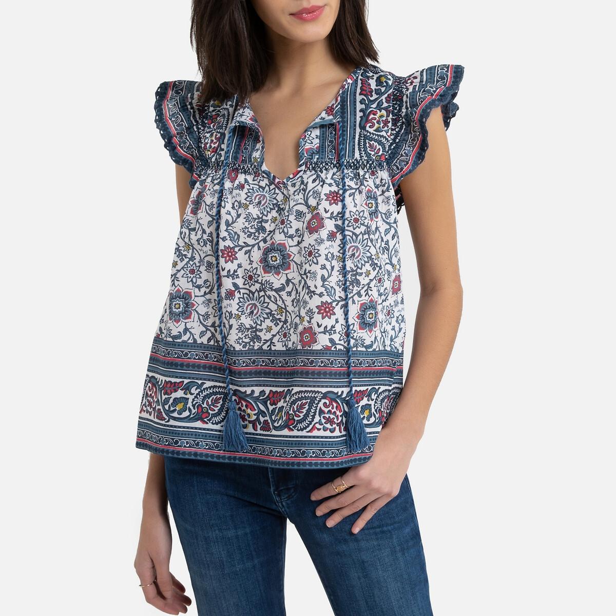 цены Блузка La Redoute С круглым вырезом с завязками и цветочным рисунком S синий