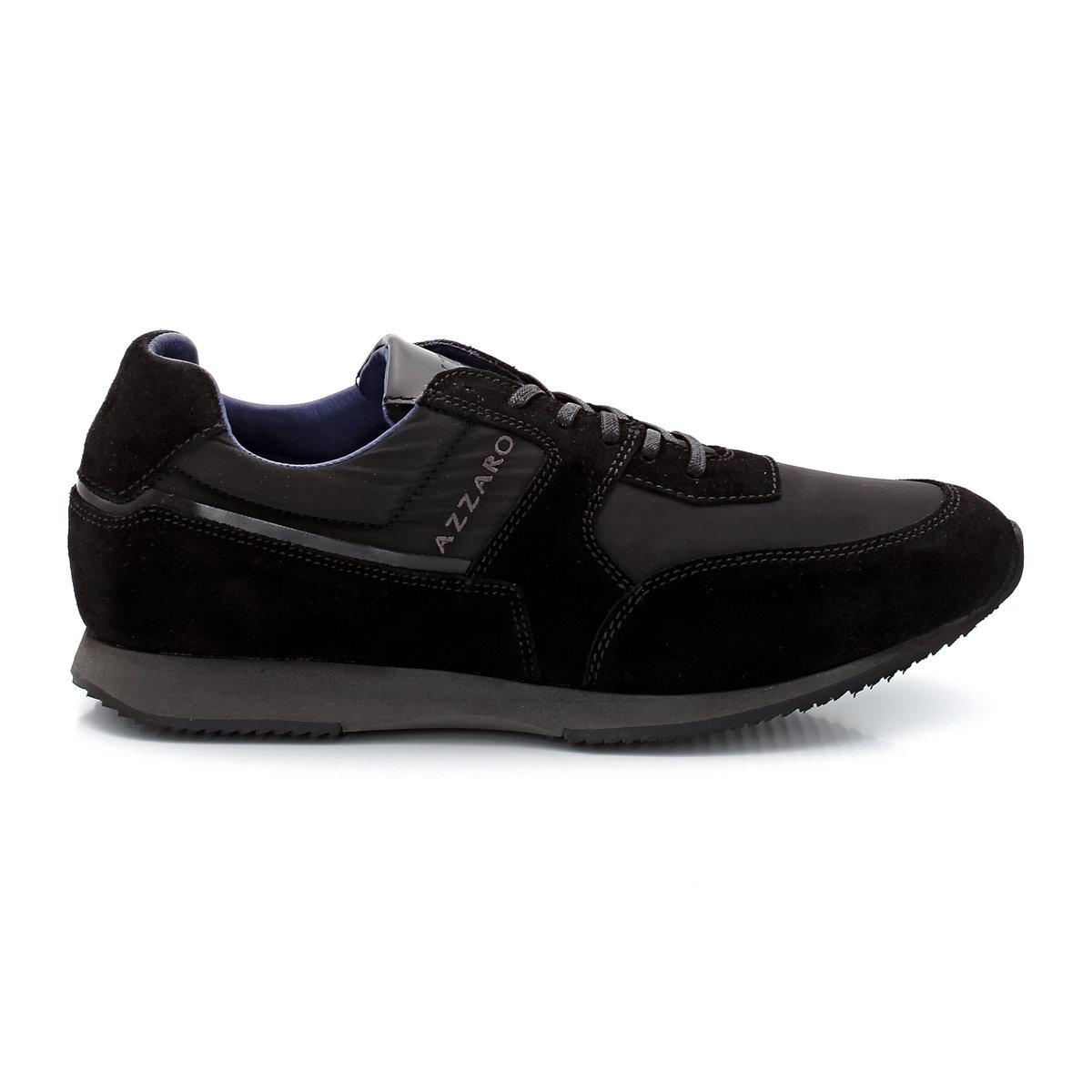 Кеды низкие из велюра и текстиля со шнуровкойУдивительное сочетание спортивного дизайна и городского стиля - в этих удобных кедах Azzaro, которые идеально подойдут к любой одежде кэжуал во время прогулок по городу.<br><br>Цвет: черный<br>Размер: 44