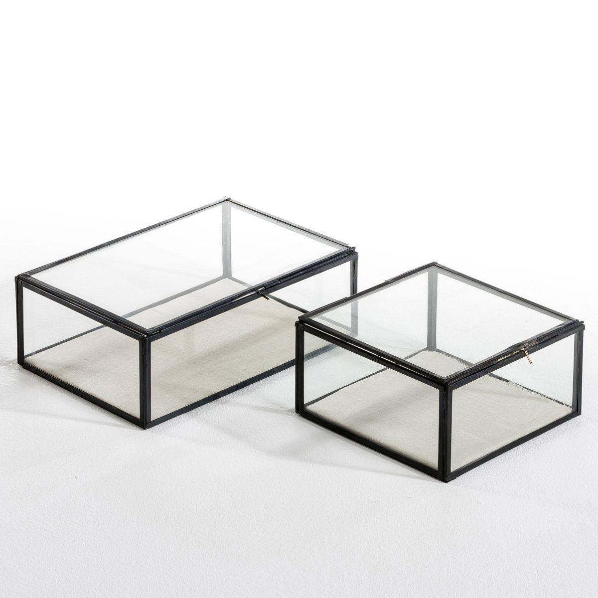 Коробка-витрина для хранения MisiaОписание: - Выполнена из стекла и металлаРазмеры: - размер 1: Д. 20 x В. 10,5 x Г. 20 см.- размер 2: Д. 30 x В. 10,5 x Г. 20 см.<br><br>Цвет: металл