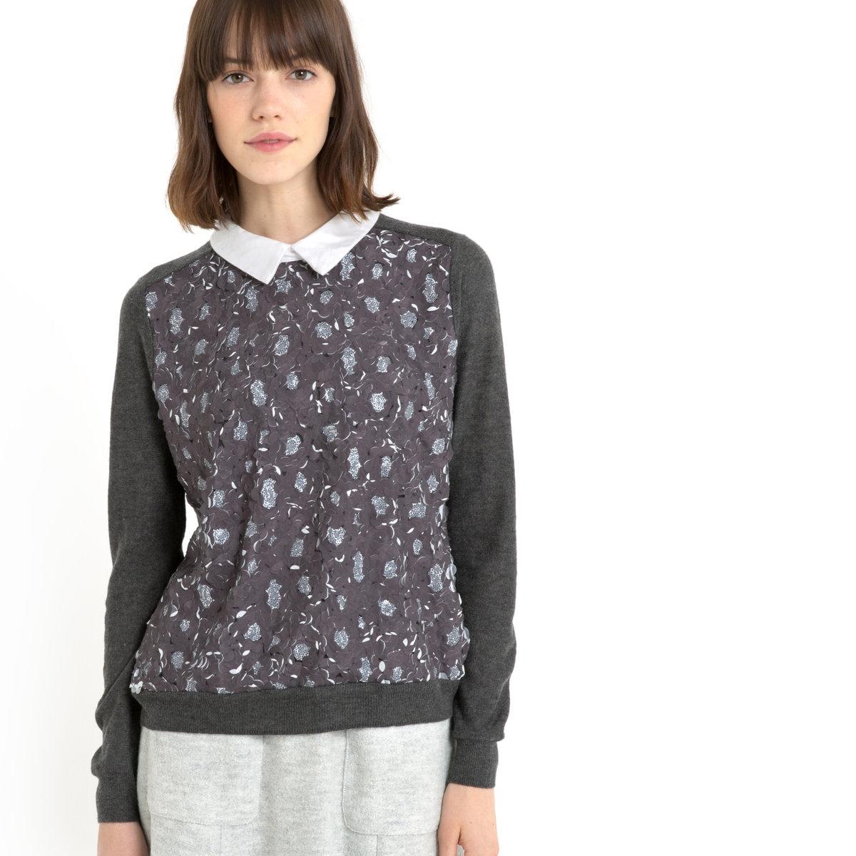 ПуловерПуловер MADEMOISELLE R. Пуловер с рубашечным воротником из хлопкового поплина. Длинные рукава.Рельефная блестящая ткань с цветочным эффектом. Низ и манжеты связаны в рубчик. Длина 59 см.Пуловер, 40% полиэстера, 20% полиамида, 20% акрила, 20% шерсти.<br><br>Цвет: серый меланж,черный<br>Размер: 30/32 (FR) - 36/38 (RUS)