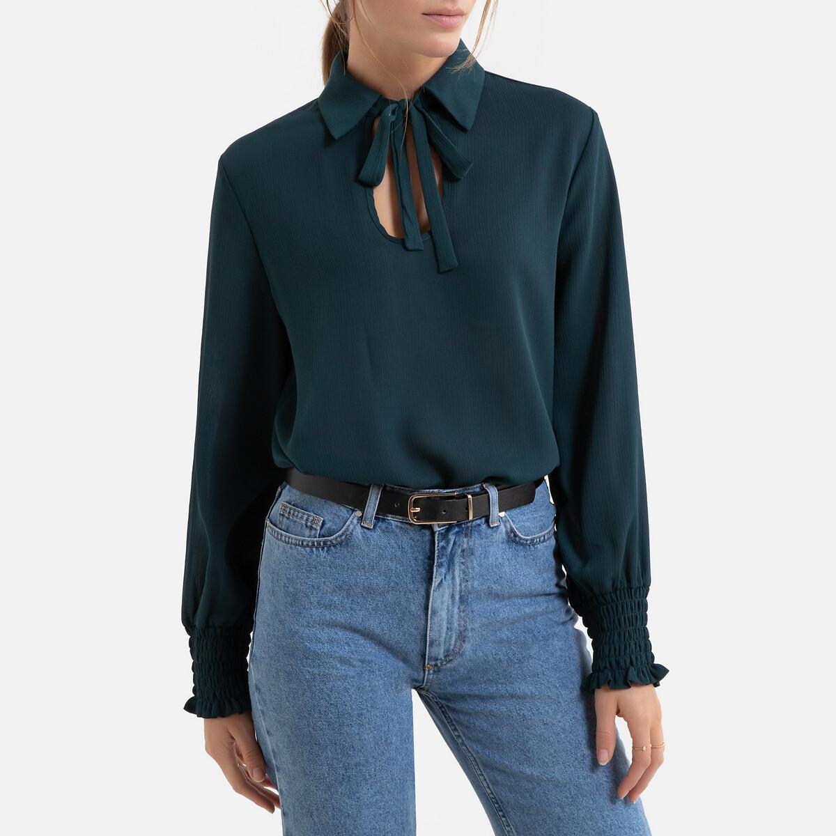 Блузка LaRedoute С рубашечным воротником с завязками длинные рукава L зеленый