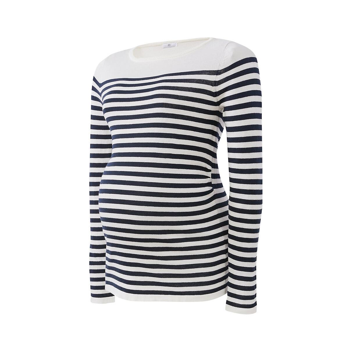 Jersey de embarazo con cuello barco de punto fino a rayas