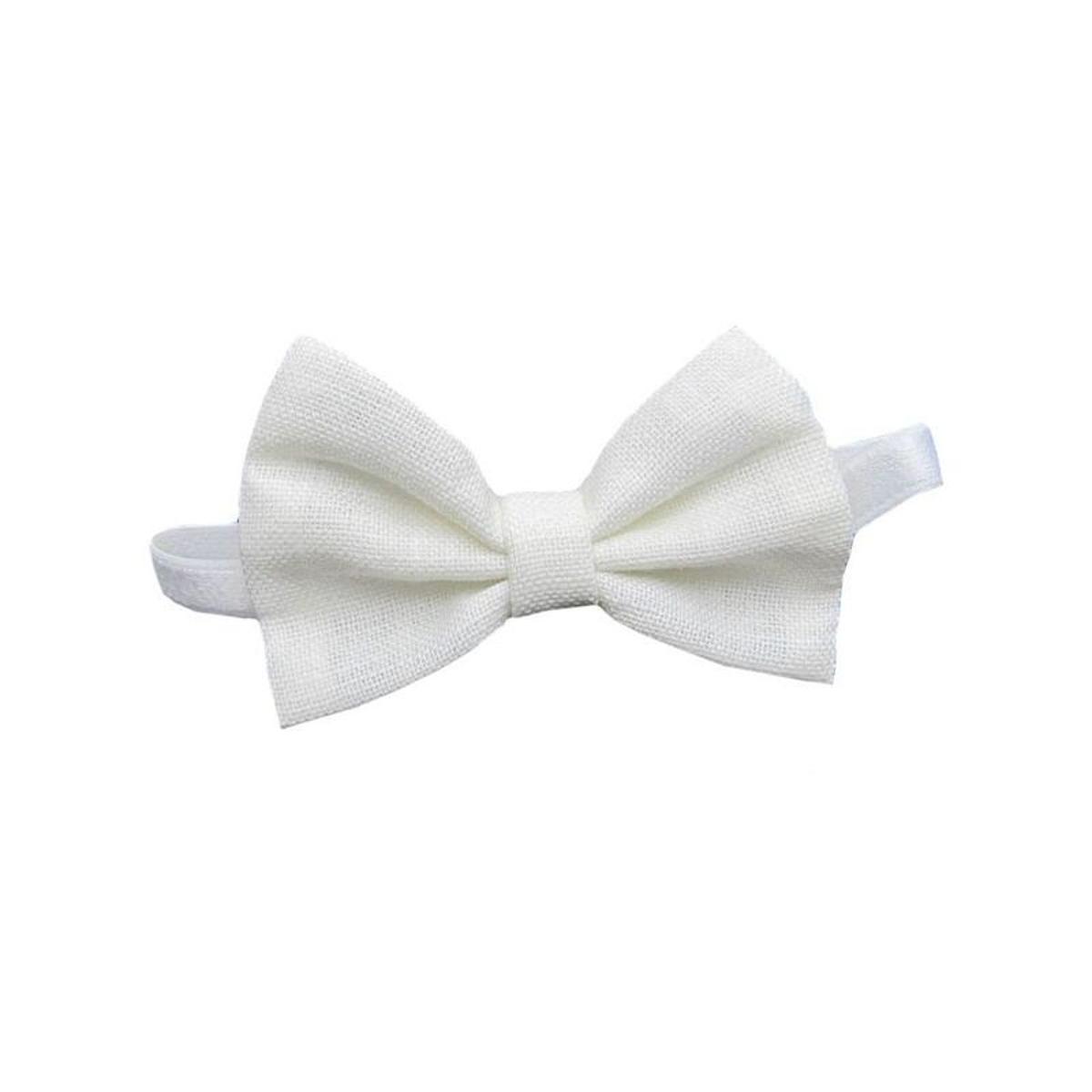Noeud papillon lin blanc cérémonie 0 mois-16 ans Made in France