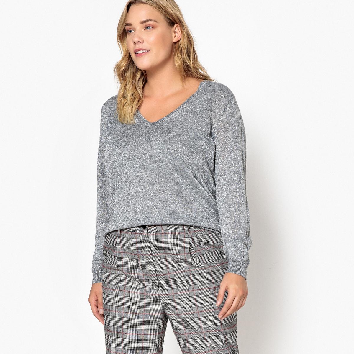 купить Пуловер с V-образным вырезом из тонкого блестящего трикотажа по цене 3399 рублей