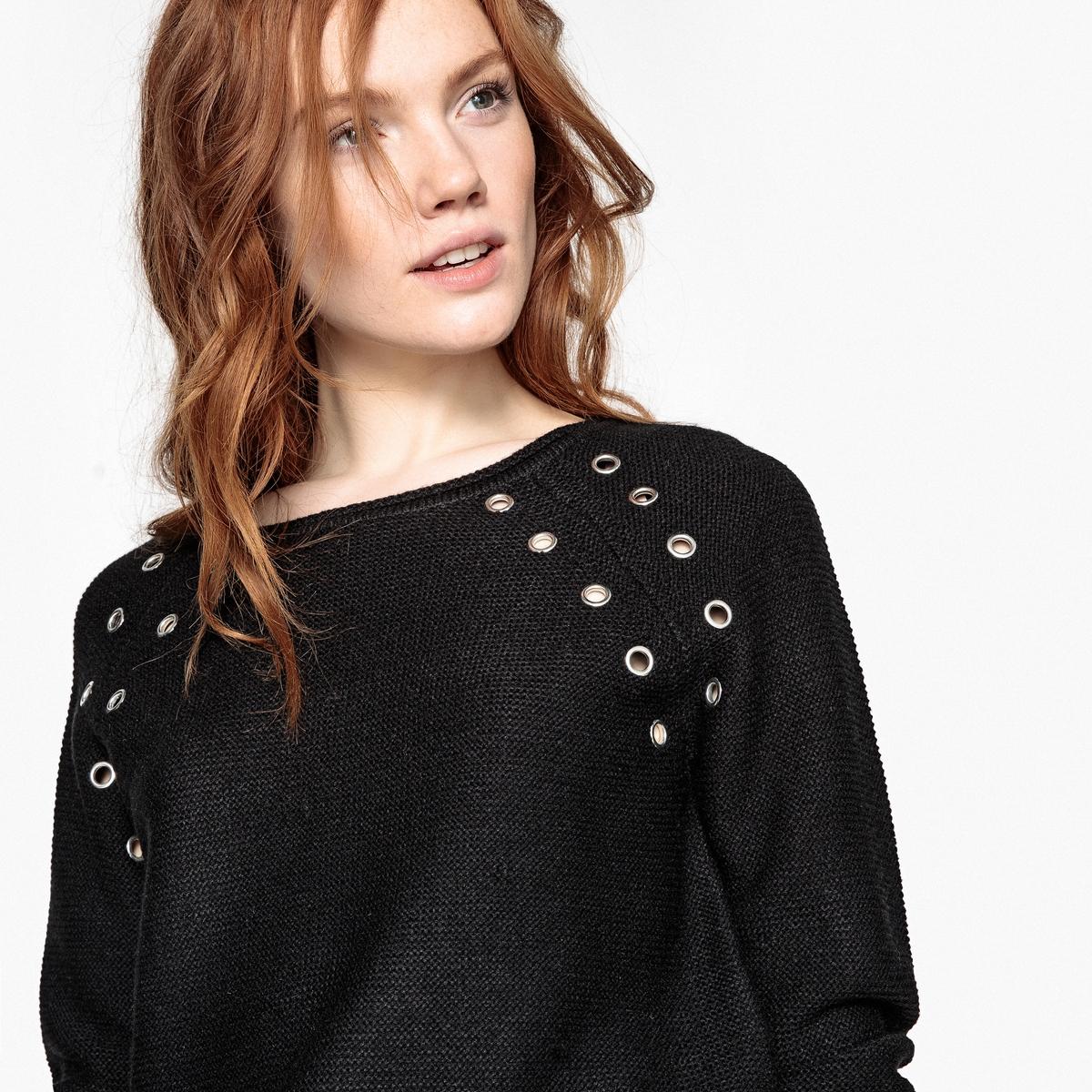 Пуловер с круглым вырезом с отделкой люверсами
