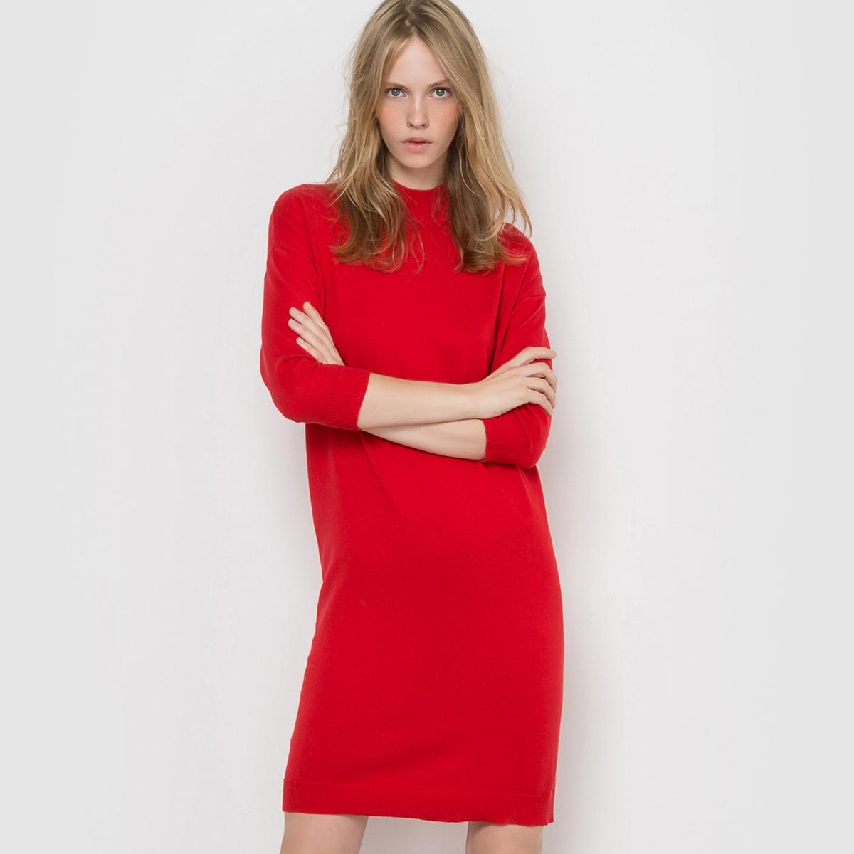 Платье-пуловер с высоким воротником из хлопка и кашемираПлатье-пуловер с укороченными рукавами. Высокий воротник. Отделка рубчиком выреза, манжет и низа.Состав и деталиМатериал: трикотаж, 95% хлопка, 5% кашемира.Длина 95 см.Марка: R essentiel. УходРучная стиркаСтирать и гладить с изнаночной стороны Гладить при умеренной температуреСухая (химическая) чистка разрешена.<br><br>Цвет: красный<br>Размер: 42/44 (FR) - 48/50 (RUS)