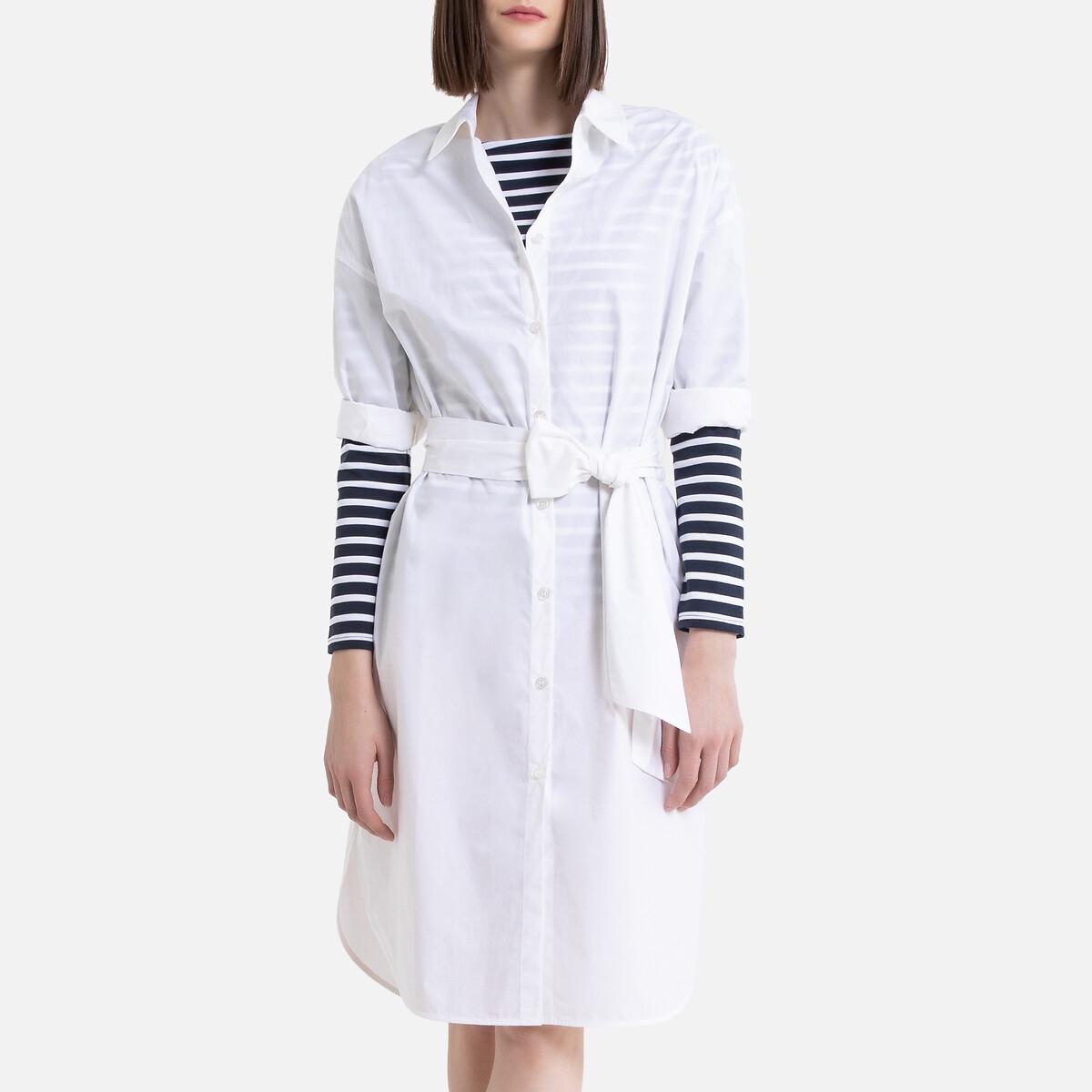 Платье-рубашка LaRedoute С ремешком 52 белый