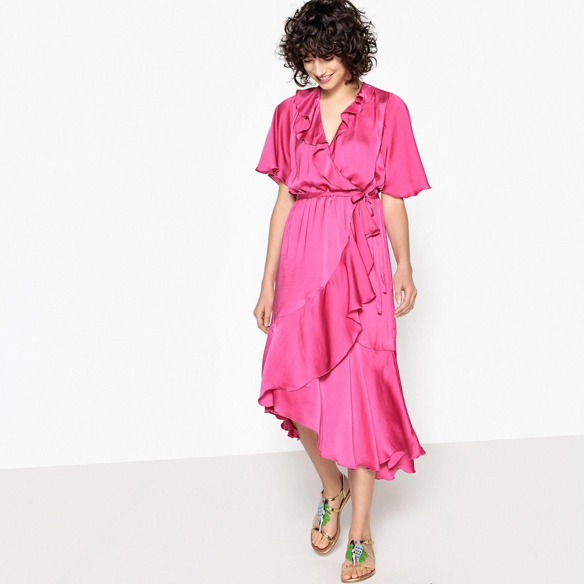 цена Платье La Redoute С запахом средней длины с воланами 38 (FR) - 44 (RUS) розовый онлайн в 2017 году
